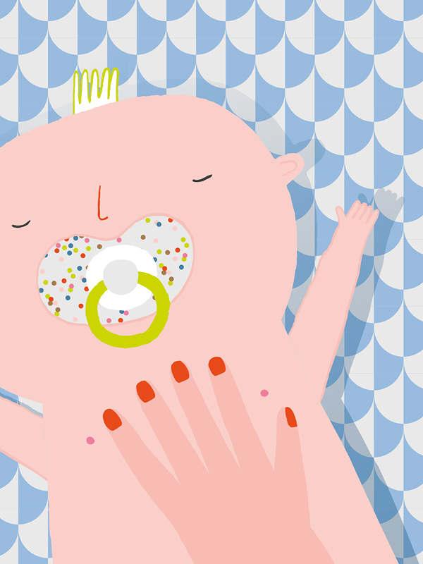 baby illustratie Kraambezoek bewaarboek Aniek Bartels