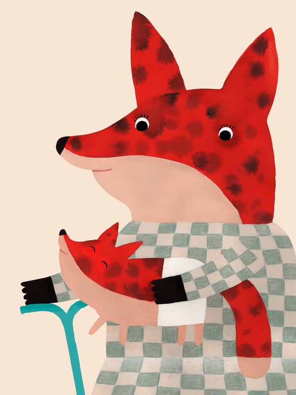 Illustratie van twee vossen zusjes door Aniek Bartels